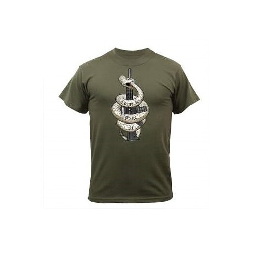 USA T-SHIRT COME AND TAKE IT OLIVE
