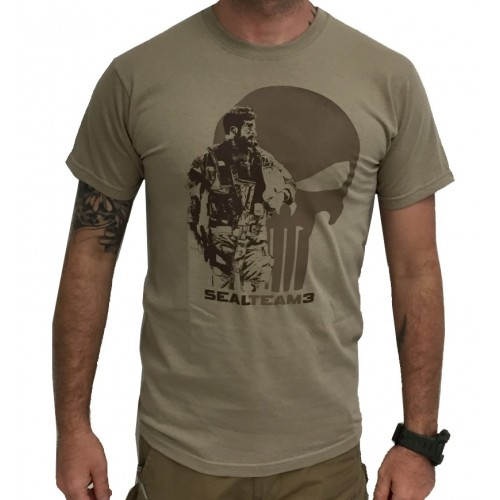 DEATH HOUSE T-SHIRT SEAL TEAM 3 SOLDIER & PUNISHER TAN