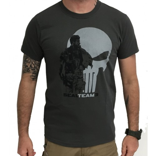 DEATH HOUSE T-SHIRT SEAL TEAM 3 SOLDIER & PUNISHER GRAY