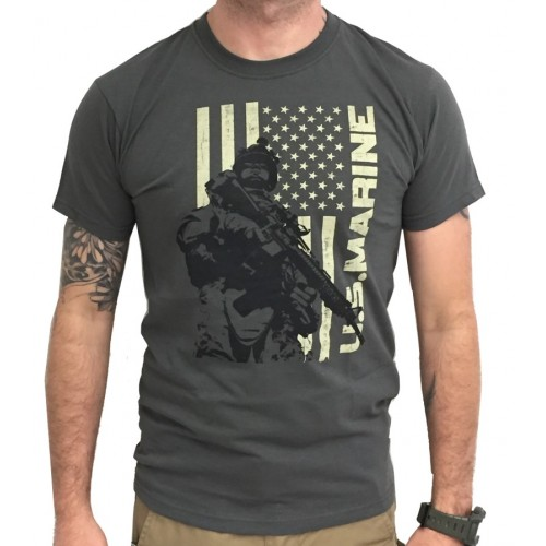 DEATH HOUSE T-SHIRT US MARINE SOLDIER & FLAG GRAY
