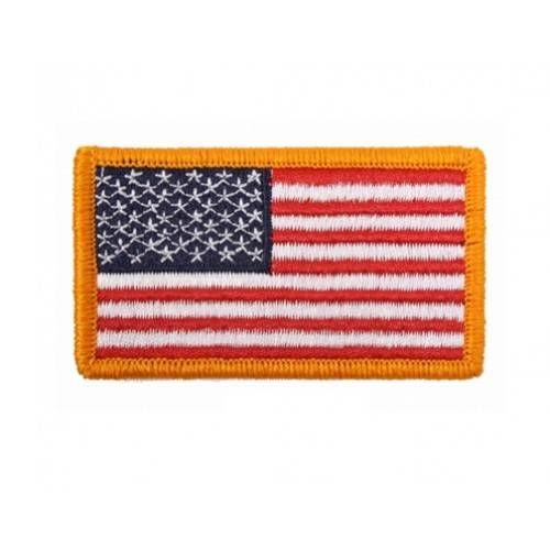 USA PATCH/DISTINTIVO STOFFA USA FLAG BORDO GOLD CON VELCRO 1 7/8x3 3/8