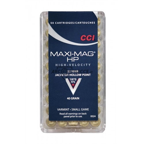 CCI CARTUCCE CAL. .22 WMR MINI-MAG 40grs JHP *Conf. 50pz*