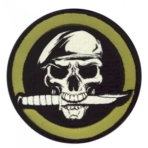 USA PATCH MILITARY SKULL KNIFE