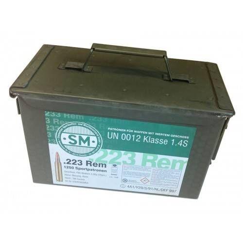 SM CARTUCCE SURPLUS CAL 223REM FMJ 55grs *Conf. da 1250 pz* CON BOX IN METALLO (@)